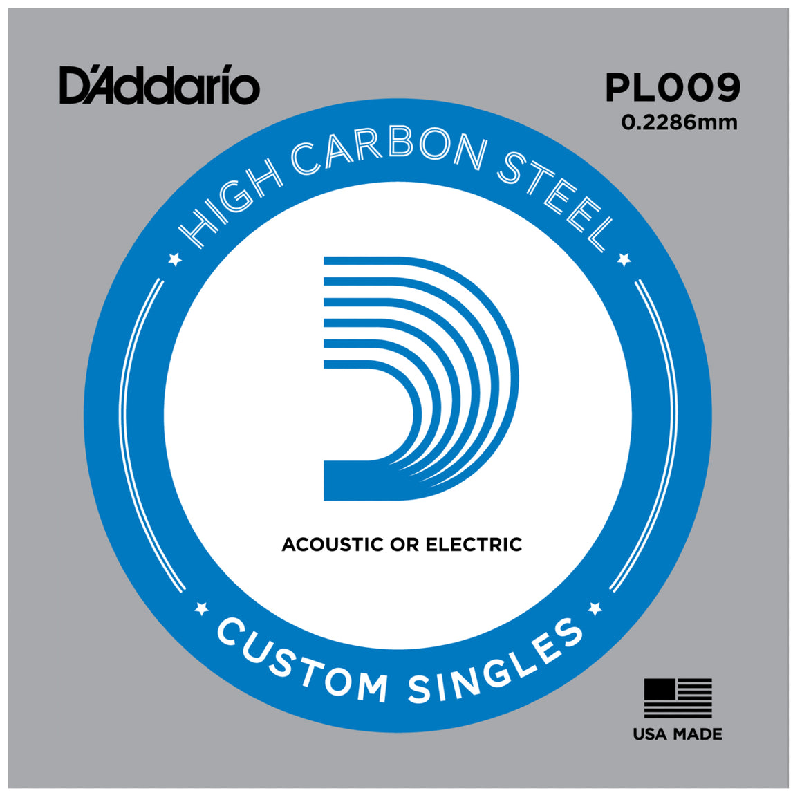 D'Addario PL009 Plain Steel Single String for Acoustic or Electric .009