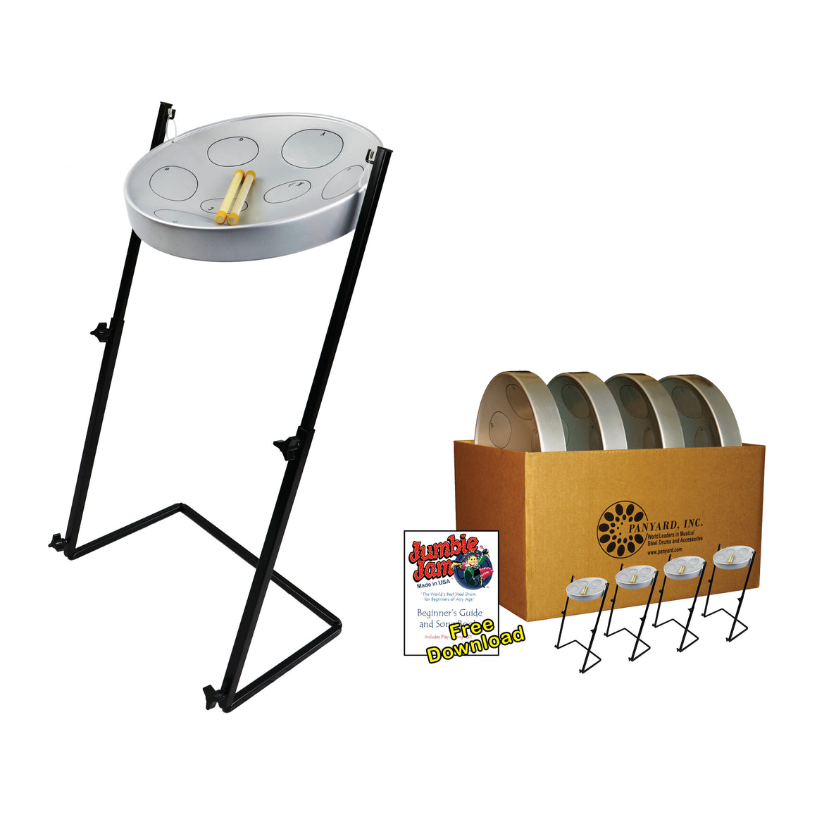 Jumbie Jam Steel Drum Educators 4-Pack - Metal Z-Floor Stands (G)