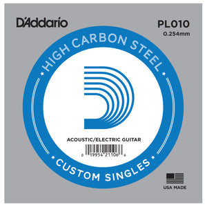 D'Addario PL010 Plain Steel Single Acoustic Guitar String .010