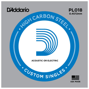 D'Addario PL018 Plain Steel Single for Acoustic or Electric Guitar String .018