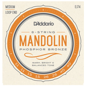 D'Addario EJ74 11-40 Phosphor Bronze Medium Mandolin Strings