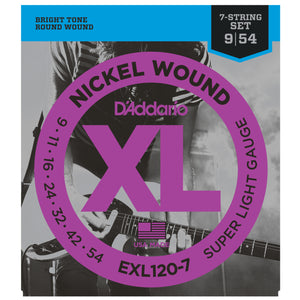 D'Addario EXL120-7 9-54 Nickel Super Light Electric Guitar Strings