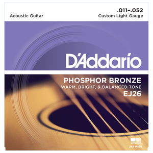 D'Addario EJ26 11-52 Phosphor Bronze Custom Light Acoustic Guitar Strings