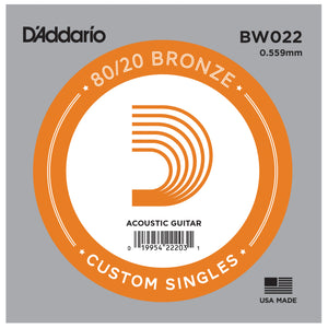 D'Addario BW022 Bronze Wound Single Acoustic Guitar String .022
