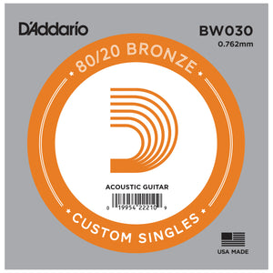 D'Addario BW030 Bronze Wound Single Acoustic Guitar String .030