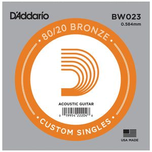 D'Addario BW023 Bronze Wound Single Acoustic Guitar String .023