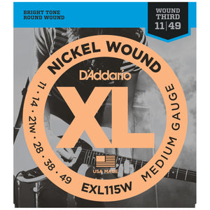 D'Addario EXL115W 11-49 Nickel Medium Electric Guitar Strings