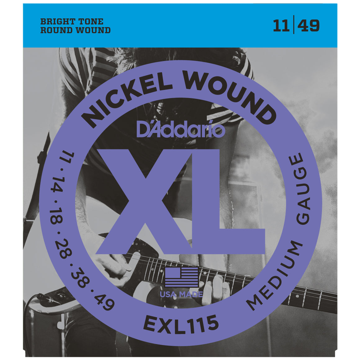 D'Addario EXL115 11-49 Nickel Medium Electric Guitar Strings