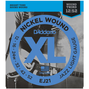 D'Addario EJ21 12-52 Nickel Jazz Light Electric Guitar Strings