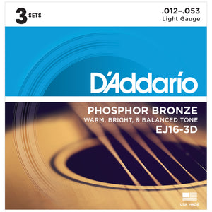 D'Addario EJ16-3D 12-53 Phosphor Bronze Acoustic Guitar Strings 3-Pack