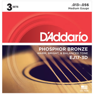 D'Addario EJ17-3D 13-56 Phosphor Bronze Acoustic Guitar Strings - 3 Pack