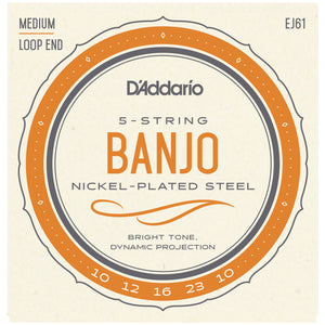 D'Addario EJ61 10-23 Nickel Medium 5-String Banjo Strings