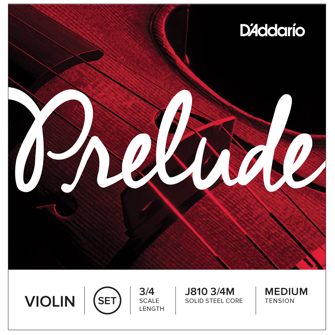D'Addario Prelude 3/4 Violin Medium Strings Set J810 3/4M
