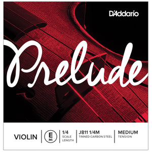 D'Addario Prelude 1/4 E Violin Single String Medium J811