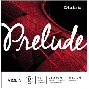 D'Addario Prelude 1/2 D Violin Single String Medium J813