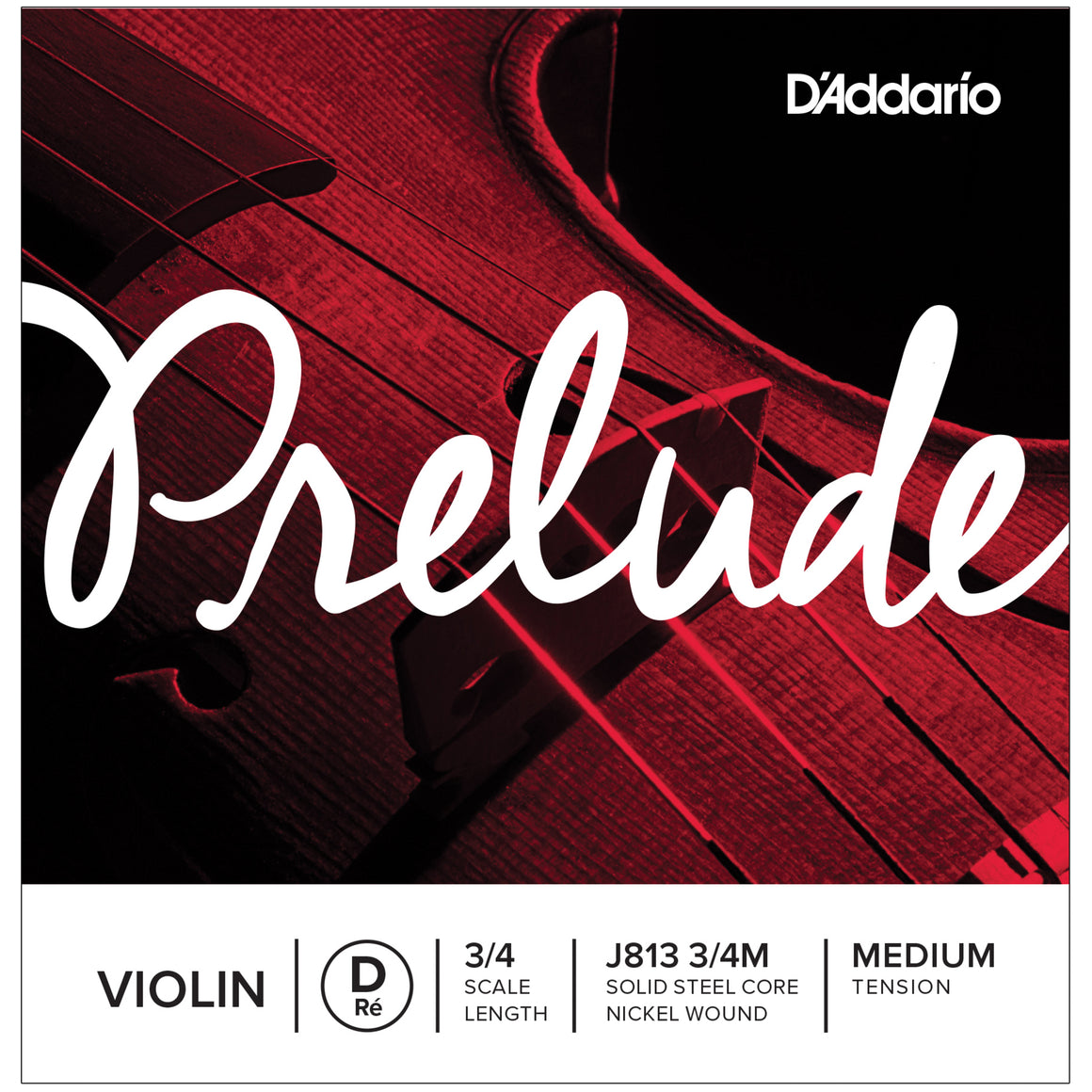 D'Addario Prelude 3/4 D Violin Single String Medium J813