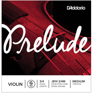 D'Addario Prelude 3/4 G Violin Single String Medium J814