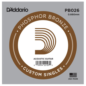 D'Addario PB026 Phosphor Bronze Single Acoustic Guitar String .026