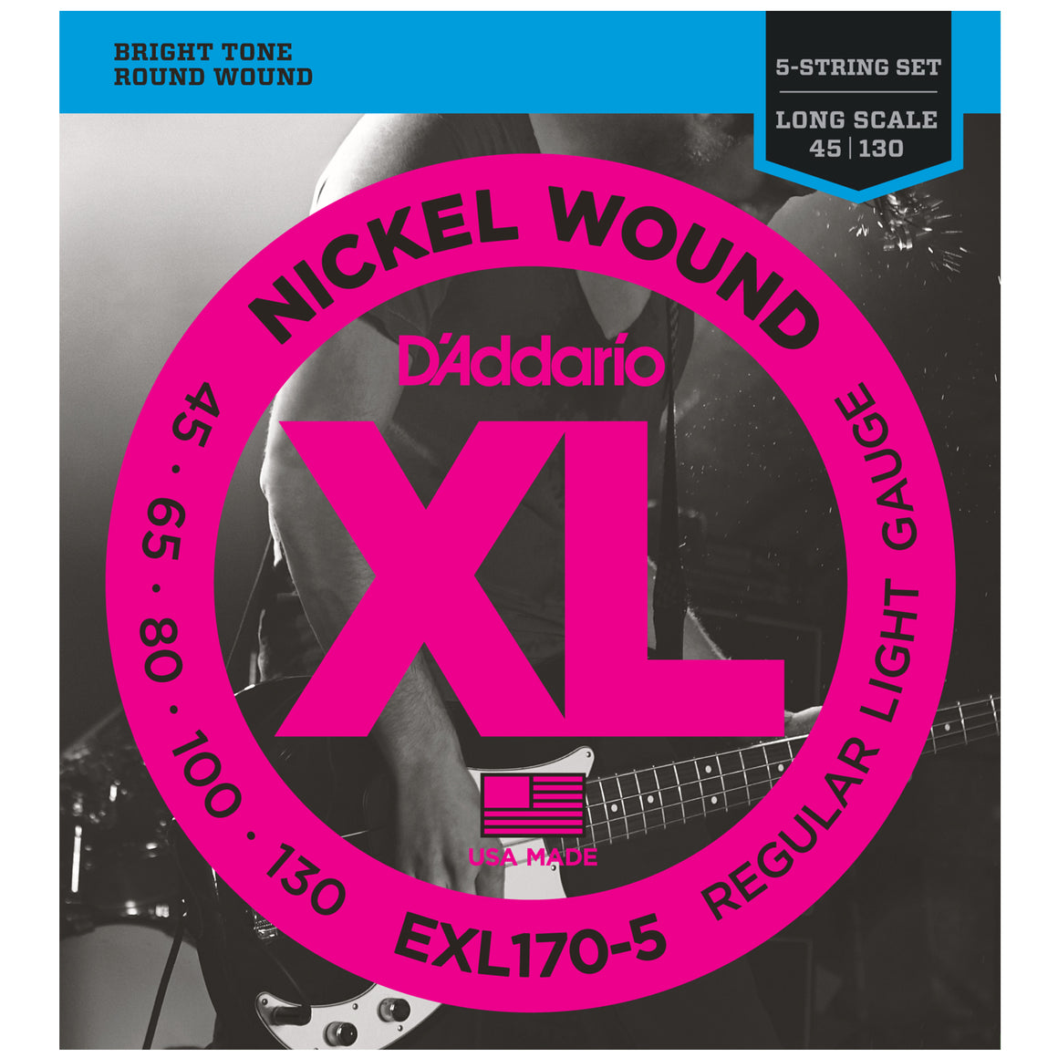 D'Addario EXL170-5 45-130 Long Scale Nickel 5-String Bass Guitar Strings