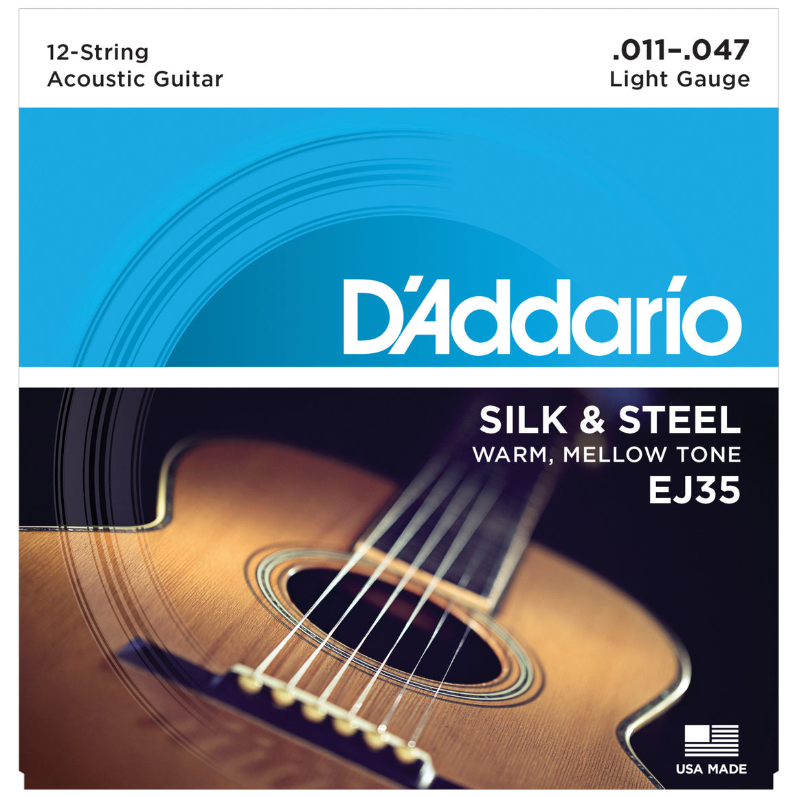 D'Addario EJ35 11-47 Silk & Steel 12-String Acoustic Guitar Strings