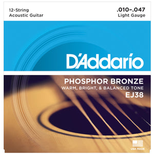 D'Addario EJ38 10-47 Phosphor Bronze Light 12-String Acoustic Guitar Strings
