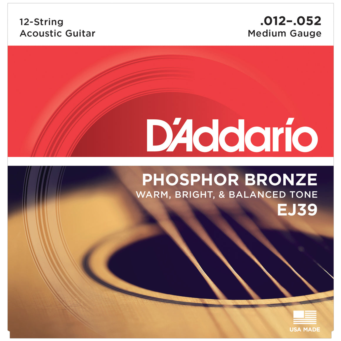 D'Addario EJ39 12-52 Phosphor Bronze Medium 12-String Acoustic Guitar Strings