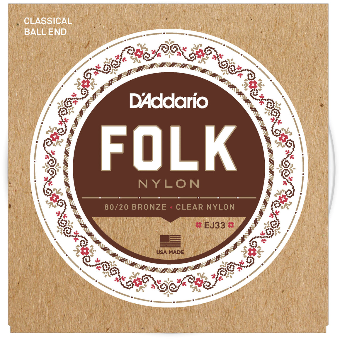 D'Addario EJ33 Folk Nylon Classical Guitar Strings