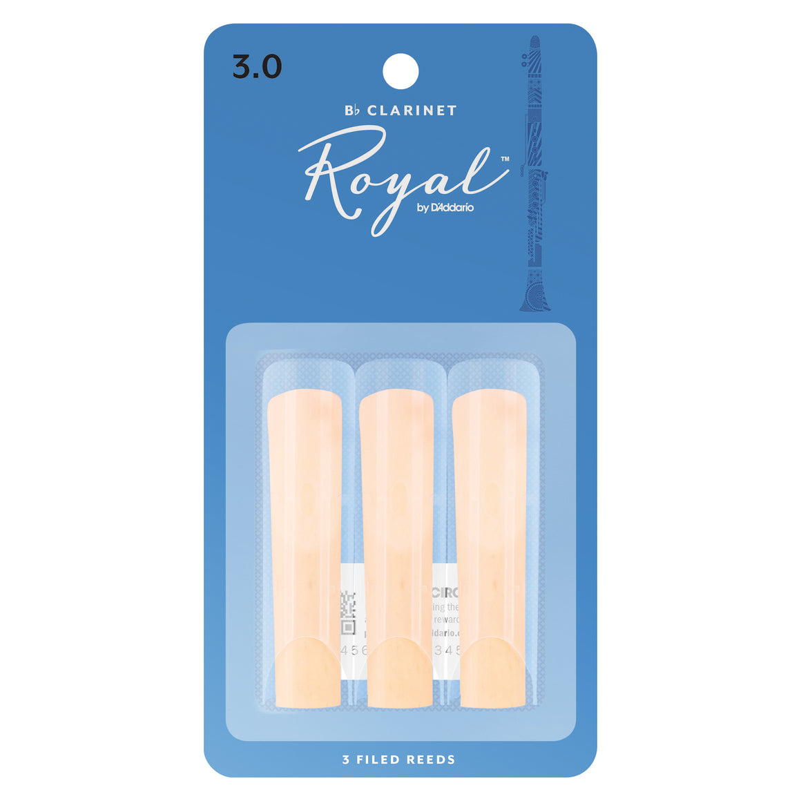 Rico Royal Clarinet Reeds Strength 3 3-Pack RCB0330