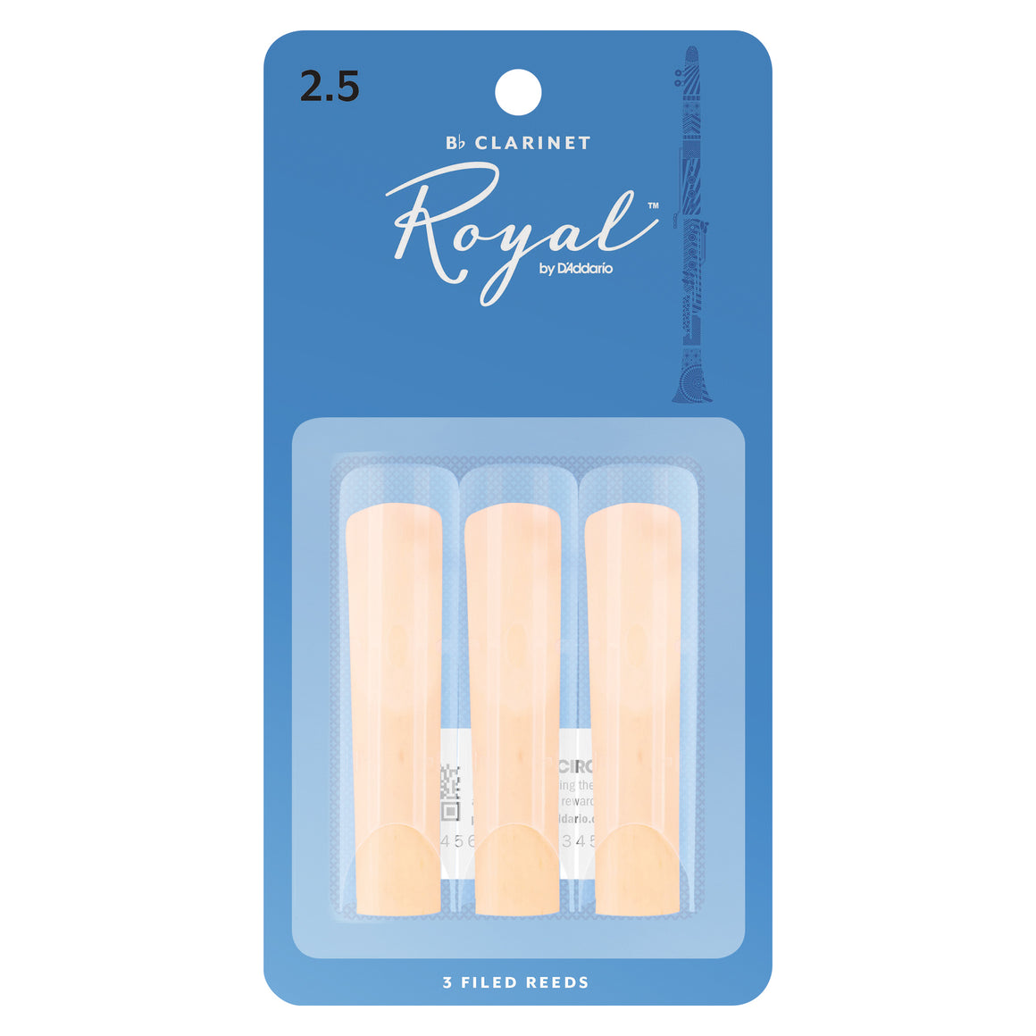 Rico Royal Clarinet Reeds Strength 2.5 3-Pack RCB0325