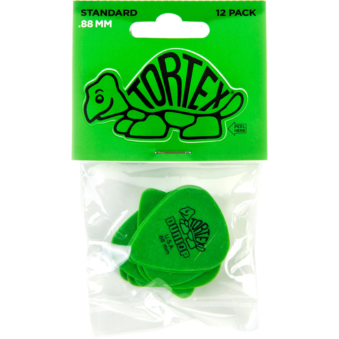 Dunlop 418P88 Tortex Standard .88 Green Guitar Picks - 12 PACK