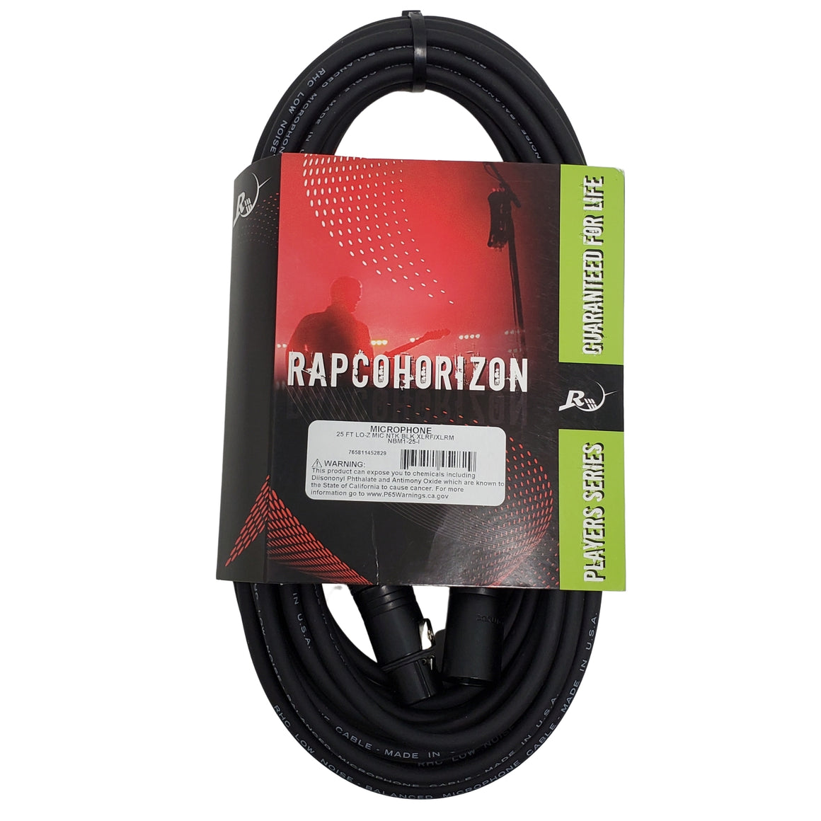 Horizon 25ft Lo-Z Mic Cable- Black Neutrik Connectors XLRF/XLRM  -NBM1-25