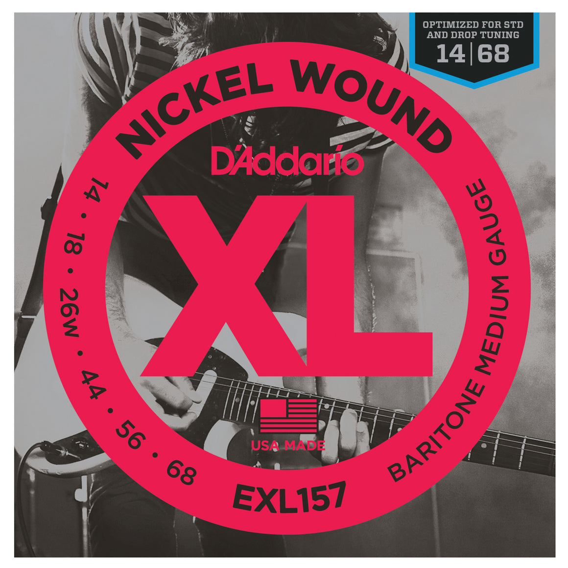 D'Addario EXL157 14-68 Nickel Medium Electric Baritone Guitar Strings