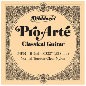 D'Addario Pro Arte 2nd Nylon Single String .0322 J4502