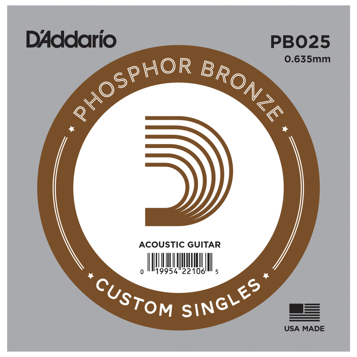 D'Addario PB025 Phosphor Bronze Single Acoustic Guitar String .025