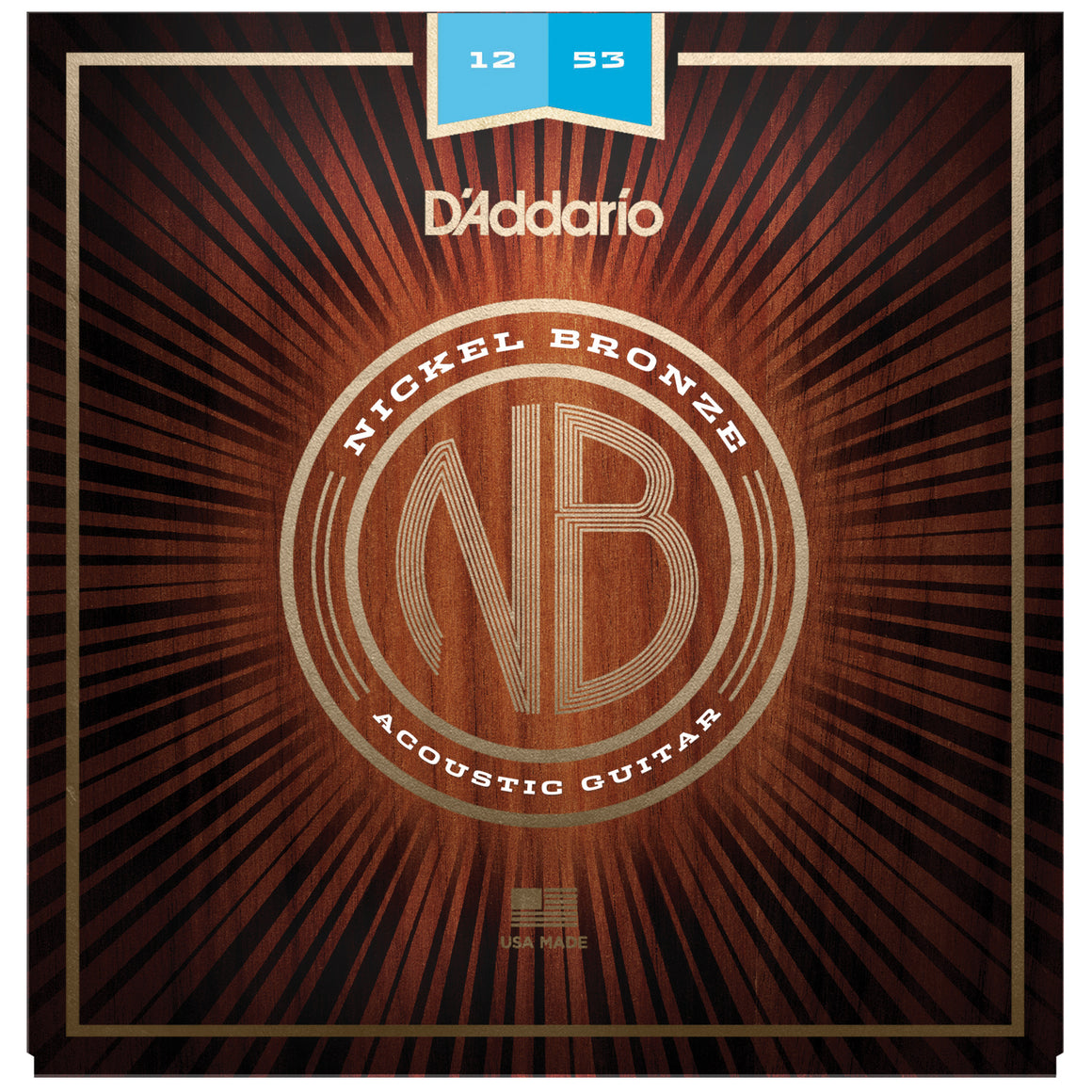 D'Addario NB1253 12-53 Nickel Bronze Light Acoustic Guitar Strings