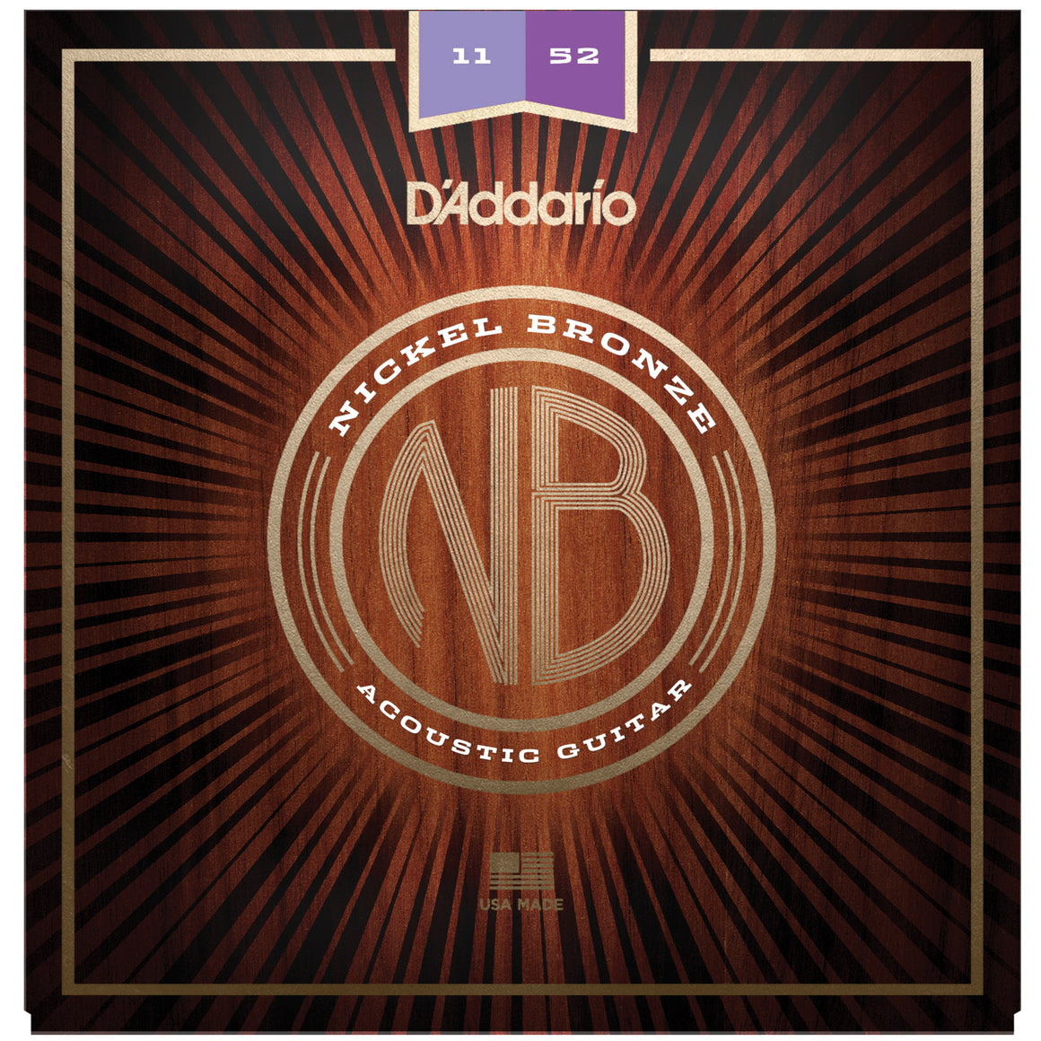 D'Addario NB1152 11-52 Nickel Bronze Light Acoustic Guitar Strings