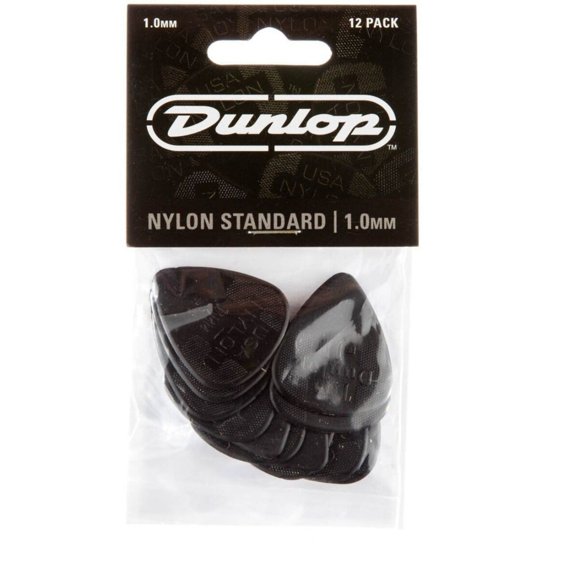 Dunlop 44p10 Nylon Standard 1.0 Black Guitar Picks - 12 PACK