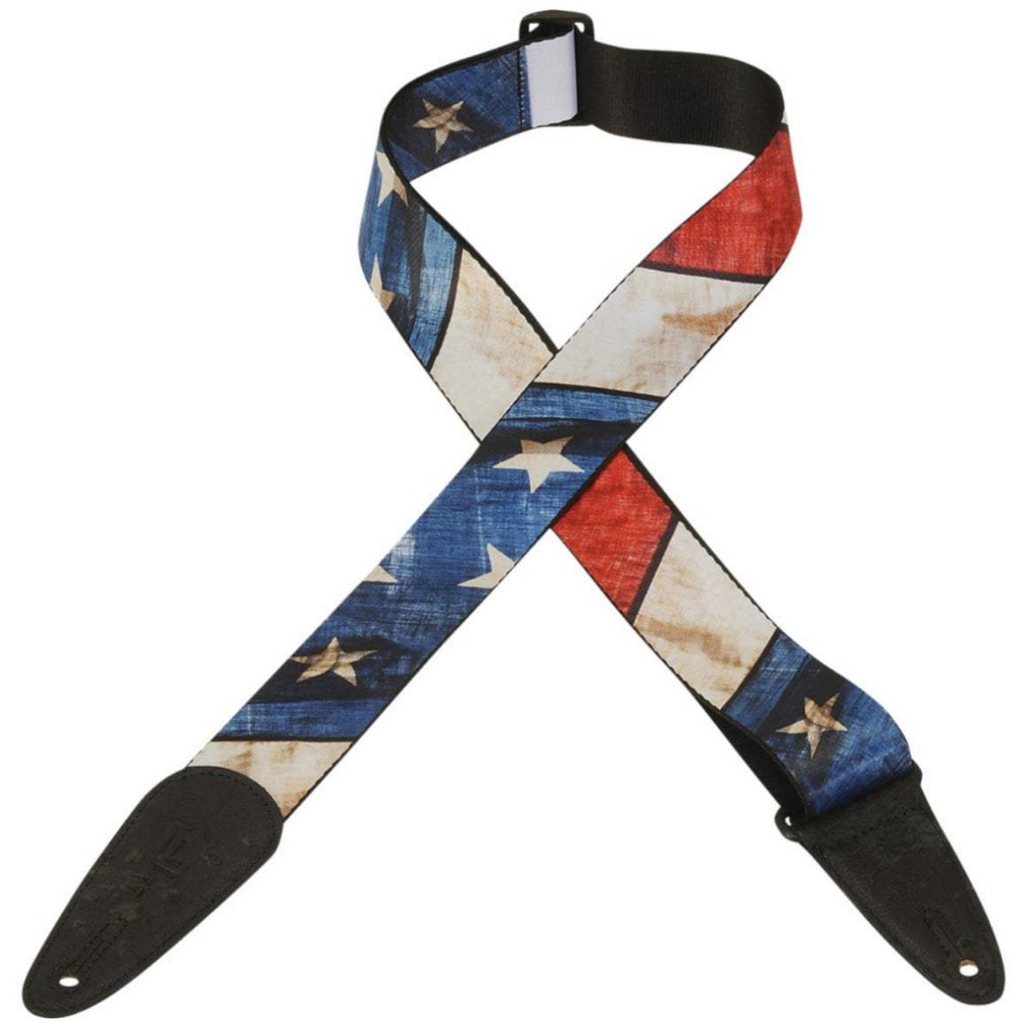 "2"" Levy's US Flag Distressed Poly Guitar Strap"