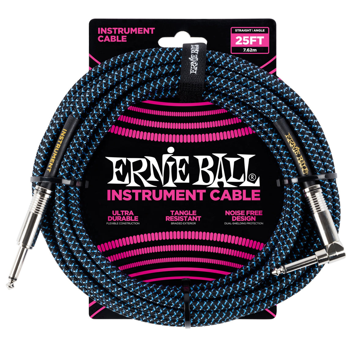 Ernie Ball 6060 25ft Blue/Black Straight/Angle Instrument Cable