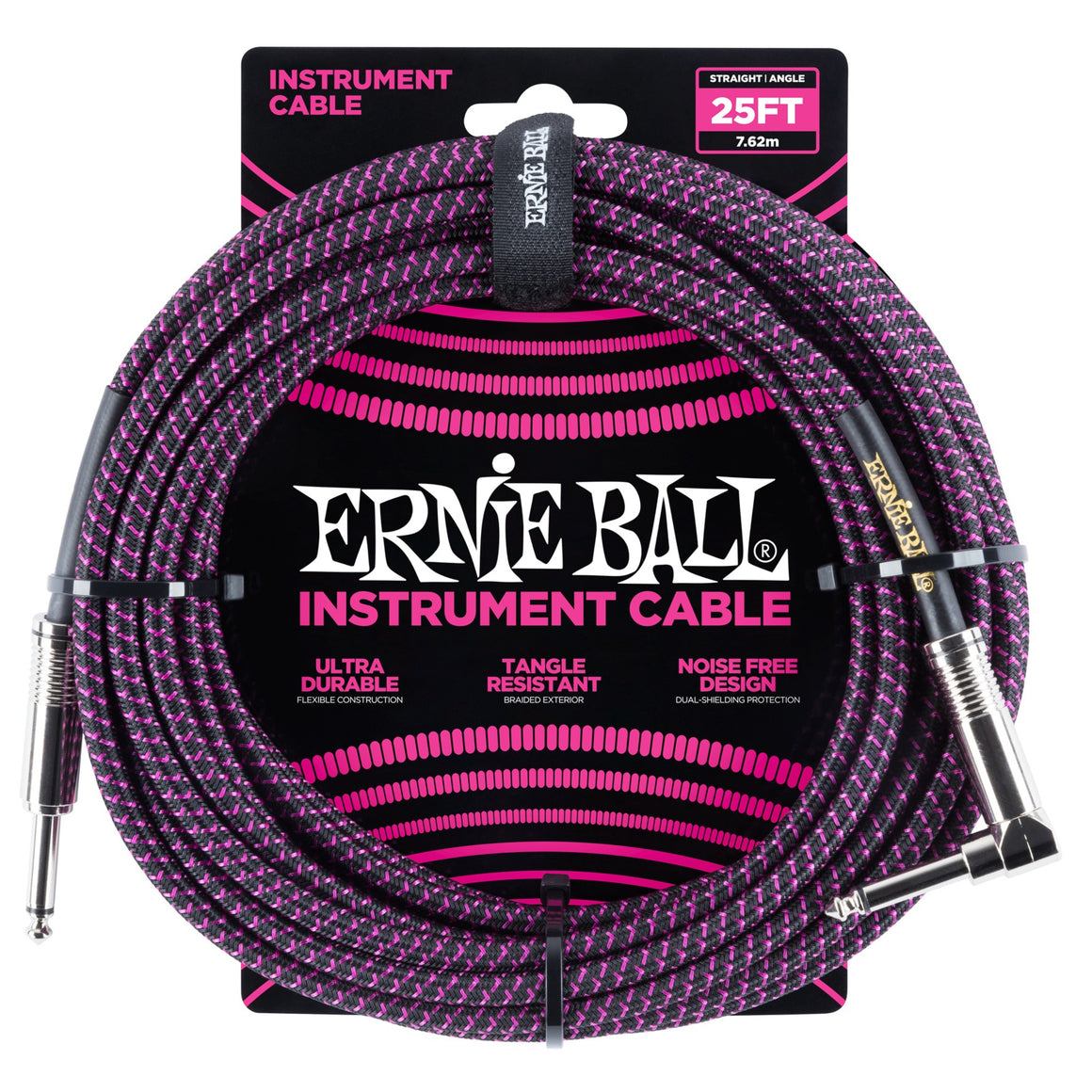 Ernie Ball 6068 25ft Purple/Black Straight/Angle Instrument Cable