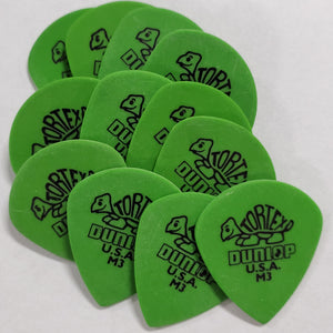 Dunlop 472 Tortex Jazz M3 .88 Green Guitar Picks - 12 PACK
