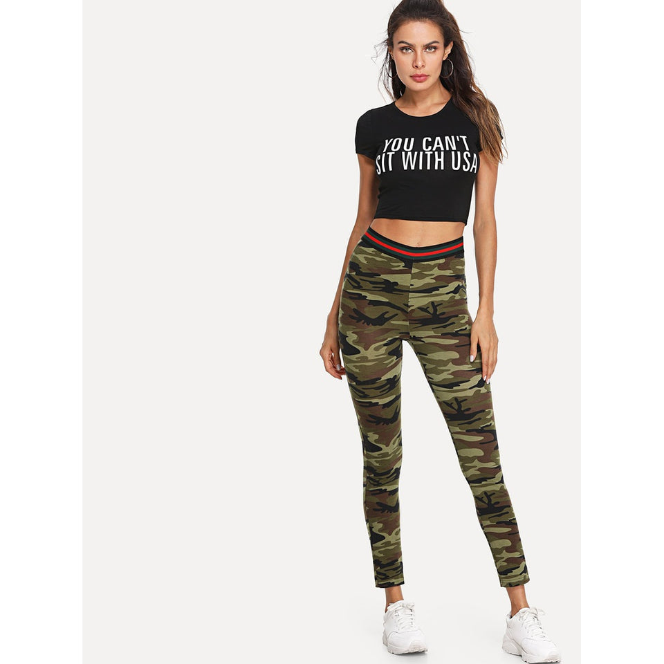Camo Print Striped Waistband Leggings