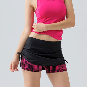 2 in 1 Side Drawstring Running Shorts/Zipper Pocket Tennis Skorts