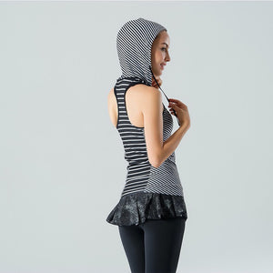 Seamless Hoodies Striped Design Racer Back Yoga Tank Top