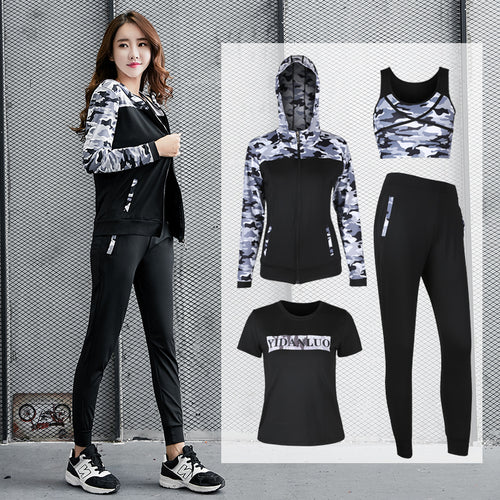 4 Pcs Zipper Hoodie Sport Bra Shirt Pants