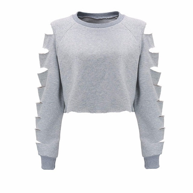 Long Sleeve Rip Hollow Out Crop Top Sweatshirt