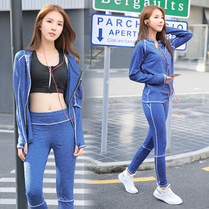 3 PCS Sports Bra+Zipper Hoodie+Pants Sets