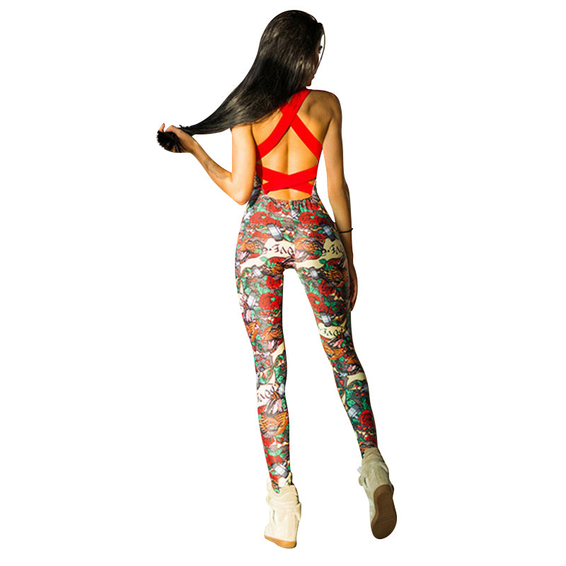 Floral Backless Jumpsuit Sportswear
