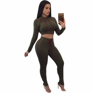 Long Sleeve Crop Top Hoodies And Pants Sets