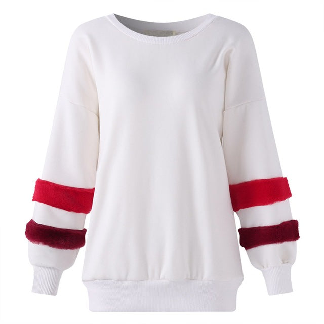 Long Sleeve Pullover Patchwork Sweatshirt